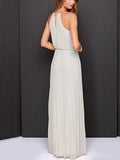 White Halter Maxi Dress