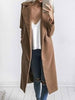 DaysCloth Fashion Turn Down Collar Solid Color Long Trech Coat