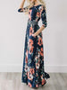 DaysCloth Ecstatic Harmony Navy Blue Floral Print Maxi Dress
