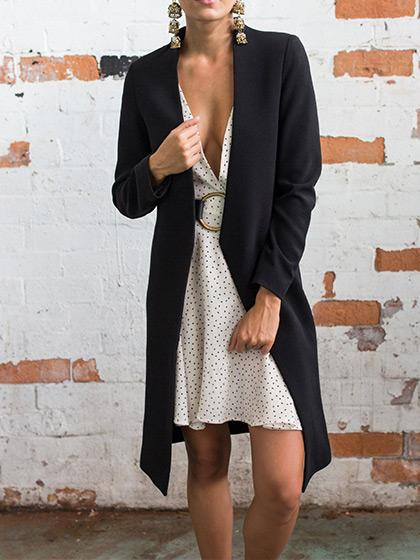 Fashion Simple Open Collar Solid Color Coat