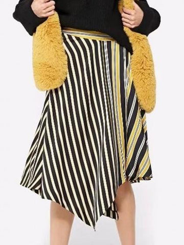 Yellow Contrast Stripe Asymmetric Hem Midi Skirt