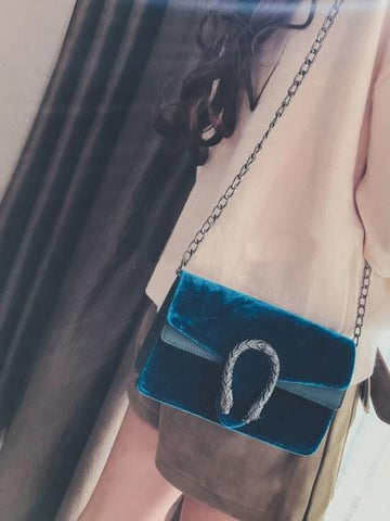 DaysCloth Blue Velvet Cross Body Chain Shoulder Bag
