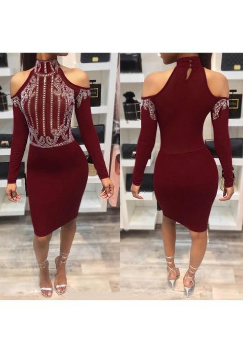 DaysCloth Red Patchwork Rhinestone Cut Out High Neck Midi Dress