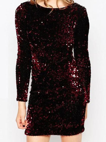 Gabby Plunge Back Dress in Burgundy Sequin