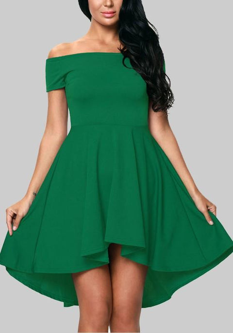 DaysCloth Green Irregular Draped Off Shoulder Backless High-low St. Patrick's Day Homecoming Party Midi Dress