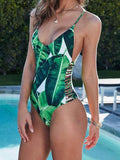 Tropical Plants Vibes Leaves Print One Piece Bikini