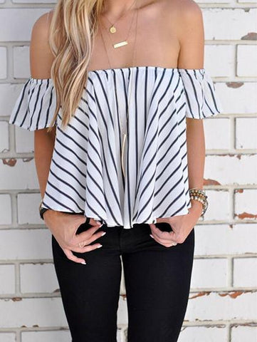 Street Style Sexy Striped Off Shoulder Bateau Top