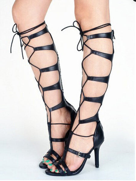 Black Lace Up Buckle Gladiator Heeled Sandals