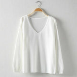 Women's Fashion Pure Color White Off Shoulder Sweater Top