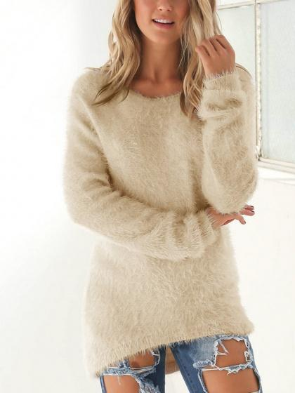 DaysCloth Beige Fluffy Long Sleeve Knit Sweater