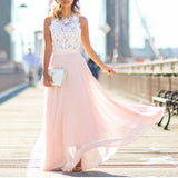 Hollow Out Beach Boho Sleeveless Maxi Vacation Dress