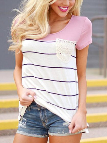 DaysCloth Daily Casual Striped Round Neckline Top