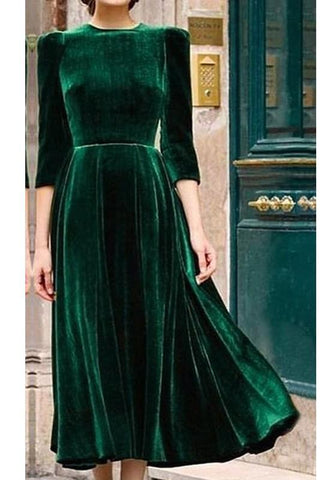 Green Draped Round Neck 3/4 Sleeve Vintage Pleuche Maxi Dress
