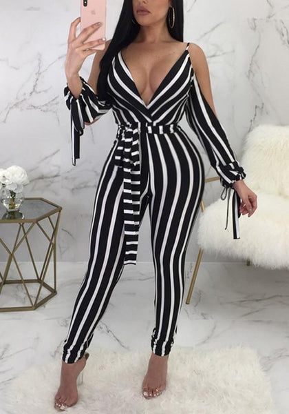 Black-White Striped Sashes Cut Out Sleeve High Waisted Clubwear Party Long Jumpsuit