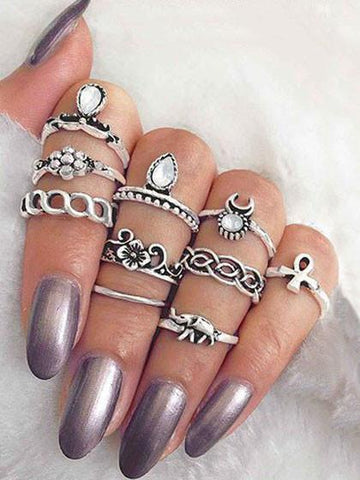 DaysCloth Boho jewelry style Rings(set of 10)