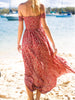 DaysCloth Red Off Shoulder Split Side Floral Maxi Dress