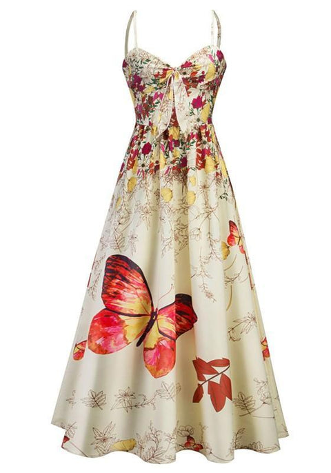 DaysCloth Yellow Flowers Butterfly Print Draped Spaghetti Strap Backless V-neck Party Midi Dress