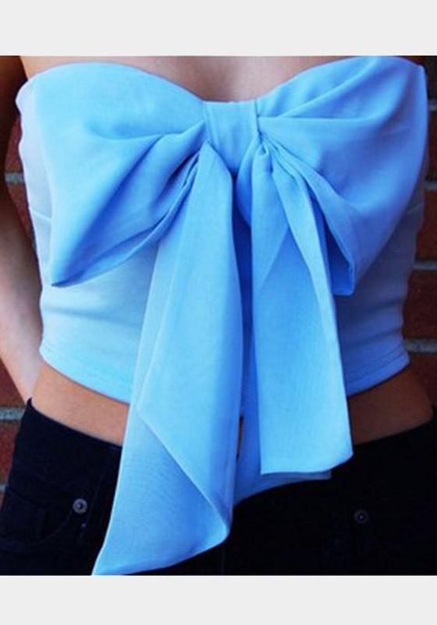 DaysCloth Blue Bow Bandeau Crop Tie Back Fashion Vest