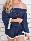 Fashion Bateau Off Shoulder Solid Color Romper