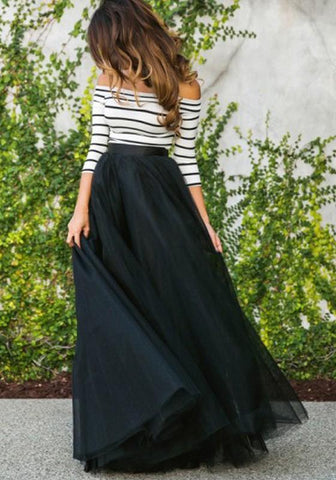 DaysCloth Black Tulle Elastic Waist Fashion Long Tutu Maxi Skirt