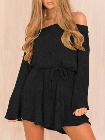 DaysCloth Black Off Shoulder Tie Waist Long Sleeve Knitted Dress