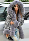 New Grey Camouflage Pockets Hooded Fur Collar Long Sleeve Parka Coat