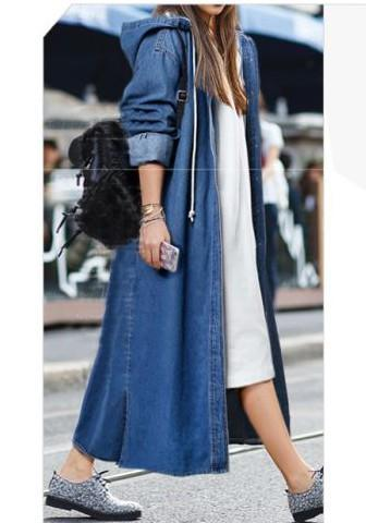 DaysCloth Dark Blue Drawstring Buttons Side Slit Hooded Casual Denim Long Coat