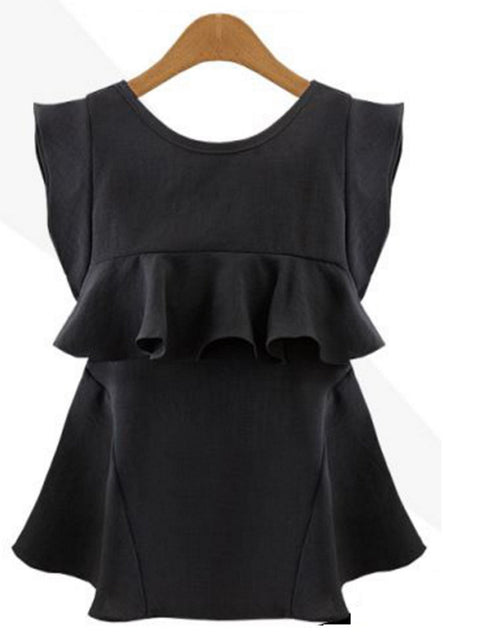 DaysCloth Black Ruffle Detail Chiffon Blouse
