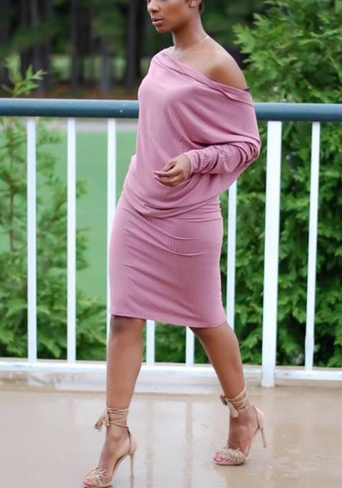 DaysCloth Pink Plain Irregular Knee Length Fashion Midi Dress