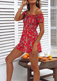 Red Floral Drawstring Ruffle Elastic Waist Fashion Short Jumpsuit