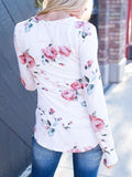 Round Neckline Little Floral Print Top