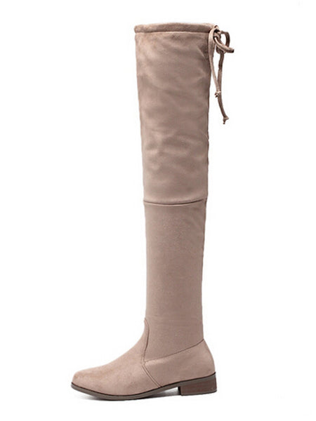 Beige Suedette Tied Back Thigh High Boots