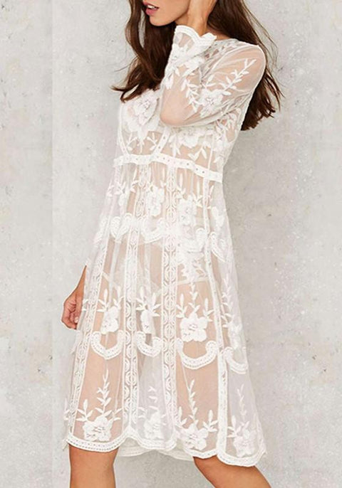 DaysCloth White Flowers Print Lace Hollow-out Grenadine Boho Wedding Midi Dress With Cowboy Boots