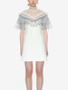 DaysCloth White Stand Collar Sheer Lace Panel Frill Trim Mini Dress