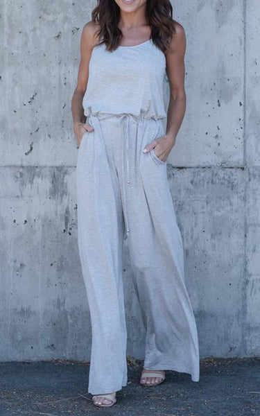 Grey Drawstring Spaghetti Strap Backless Off-Shoulder High Waisted Wide Leg Long Jumpsuit