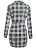 DaysCloth Black Plaid Plunge Lace Up Front Long Sleeve Shirt Dress