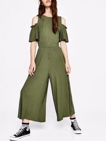 DaysCloth Army Green Cold Shoulder Ribbed Jumpsuit