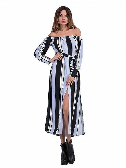 DaysCloth Blue Color Block Off Shoulder Stripe Print Split Side Dress