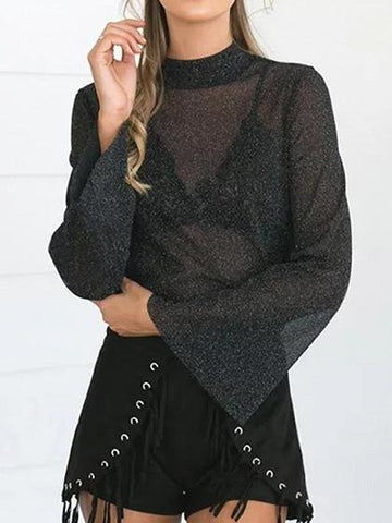 Black Mock Neck Long Flared Sleeves Semi-sheer Mesh Top