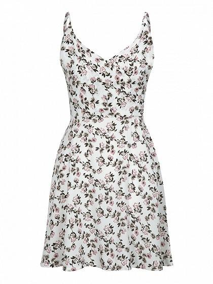 DaysCloth White Wrap Front Floral Print Cami Fit and Flare Dress