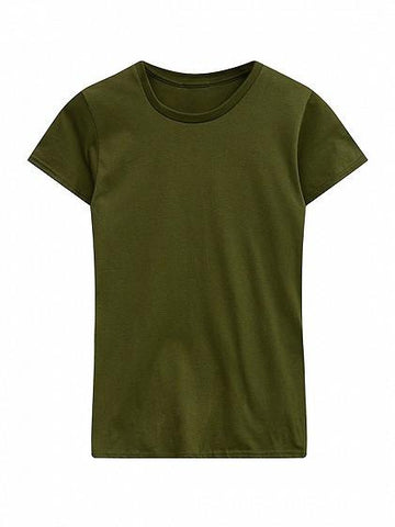 DaysCloth Army Green Round Neck Short Sleeve Basic T-shirt