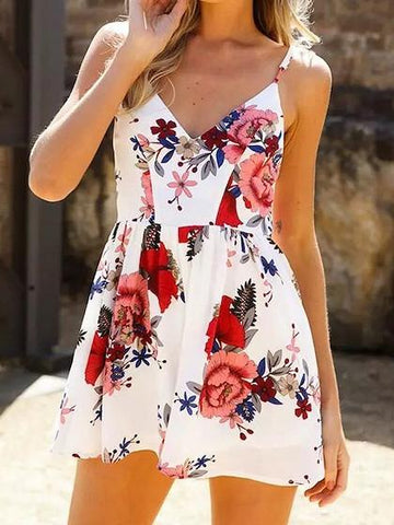 DaysCloth White V-neck Floral Spaghetti Strap Cross Back Romper Playsuit