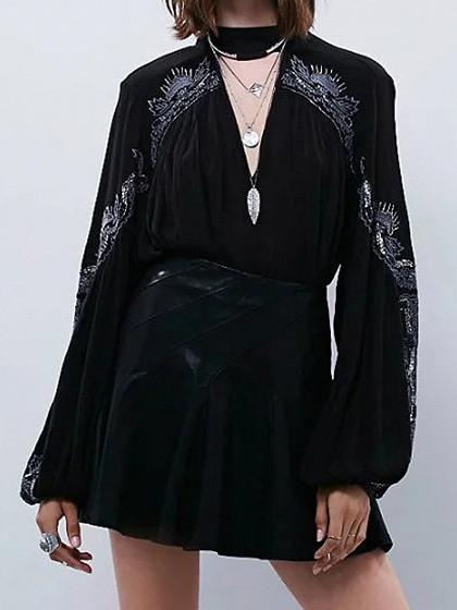 DaysCloth Black Embroidery High Neck Plunge Front Blouson Sleeves Choker Blouse