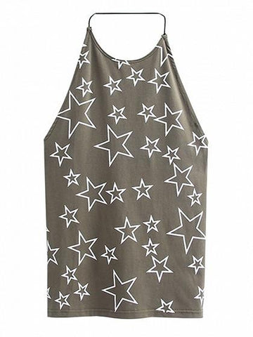DaysCloth Army Green Halter Star Print Backless Vest