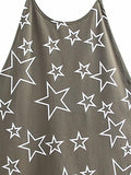 Army Green Halter Star Print Backless Vest