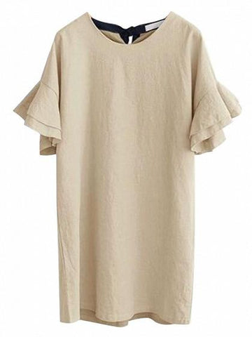 Beige Ruffle Sleeves Tie Back Shift Dress
