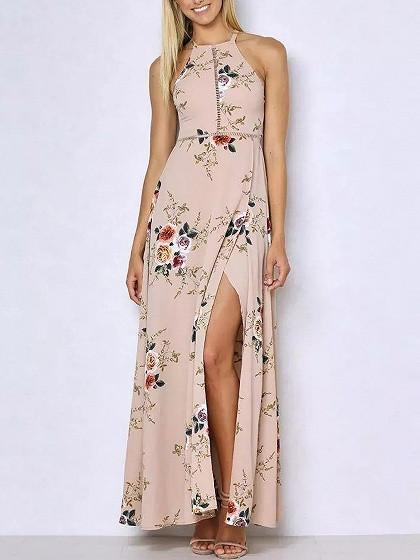 Beige Pink Floral Print Open Back Split Maxi Dress