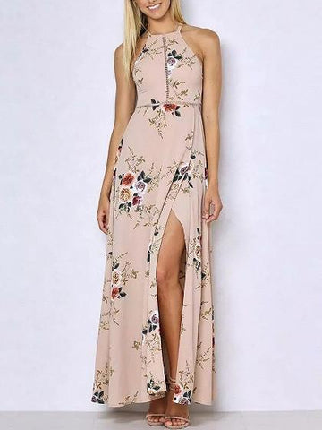 DaysCloth Beige Pink Floral Print Open Back Split Maxi Dress