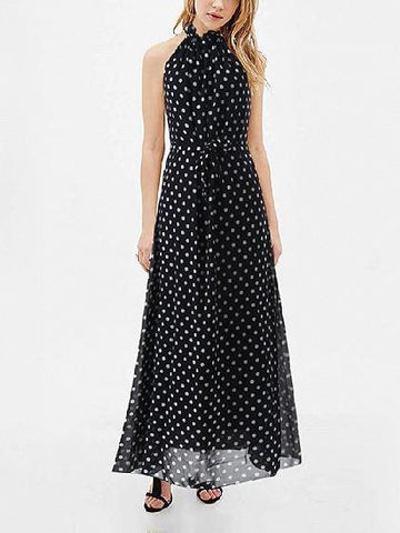 Black Halter Polka Dot Chiffon Maxi Dress