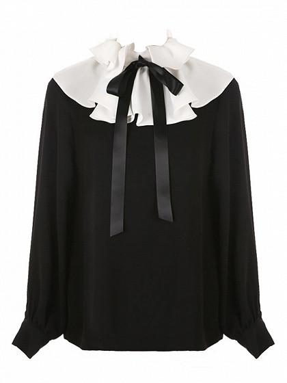DaysCloth Black Contrast Ruffle Detail Tie Front Long Sleeve Blouse